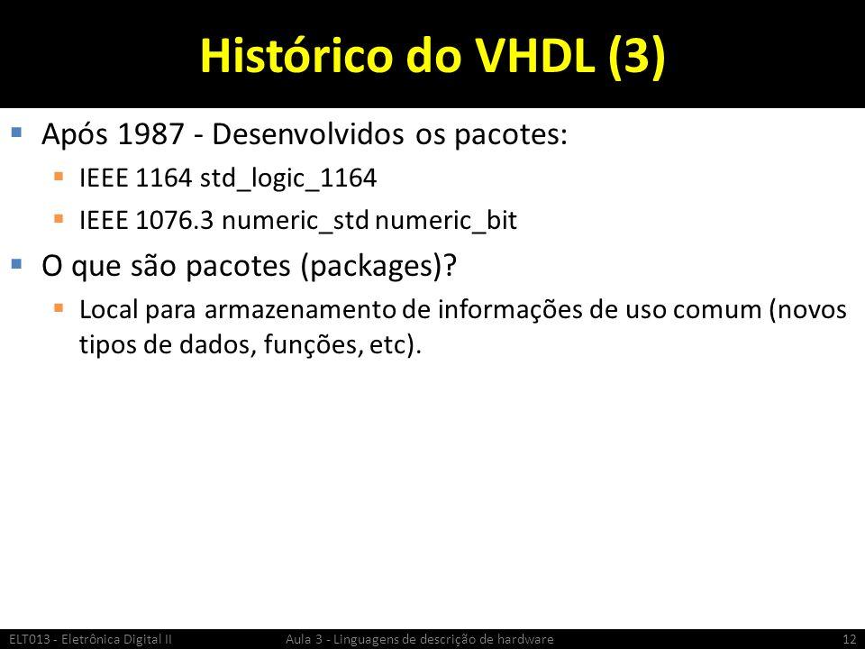 Histórico do VHDL (3) Após 1987 - Desenvolvidos os pacotes: