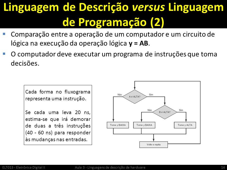 Linguagem de Descrição versus Linguagem de Programação (2)