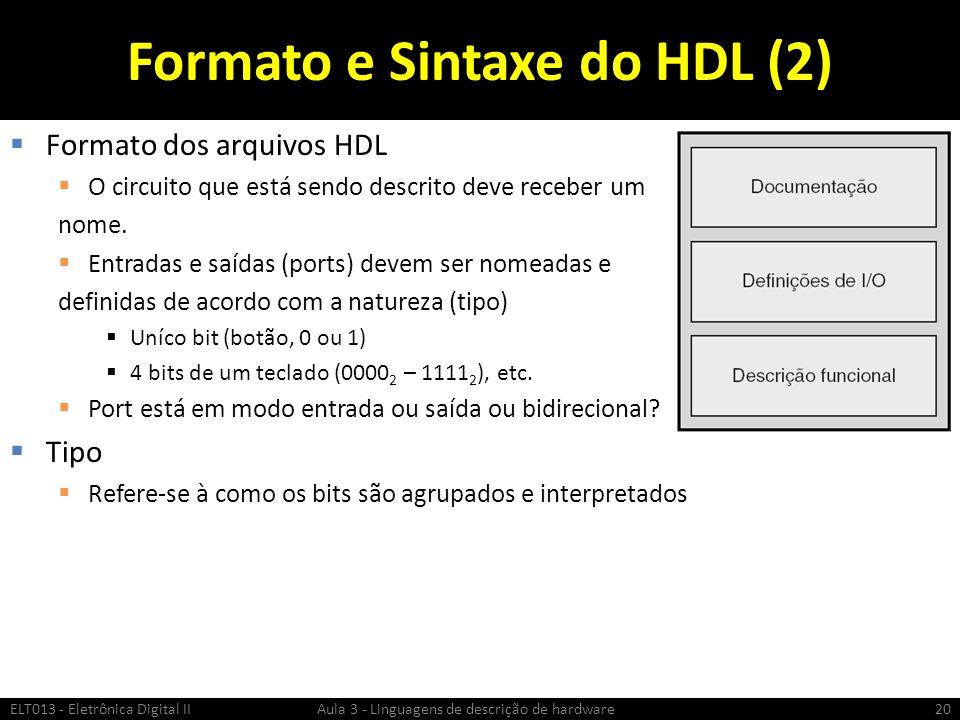 Formato e Sintaxe do HDL (2)