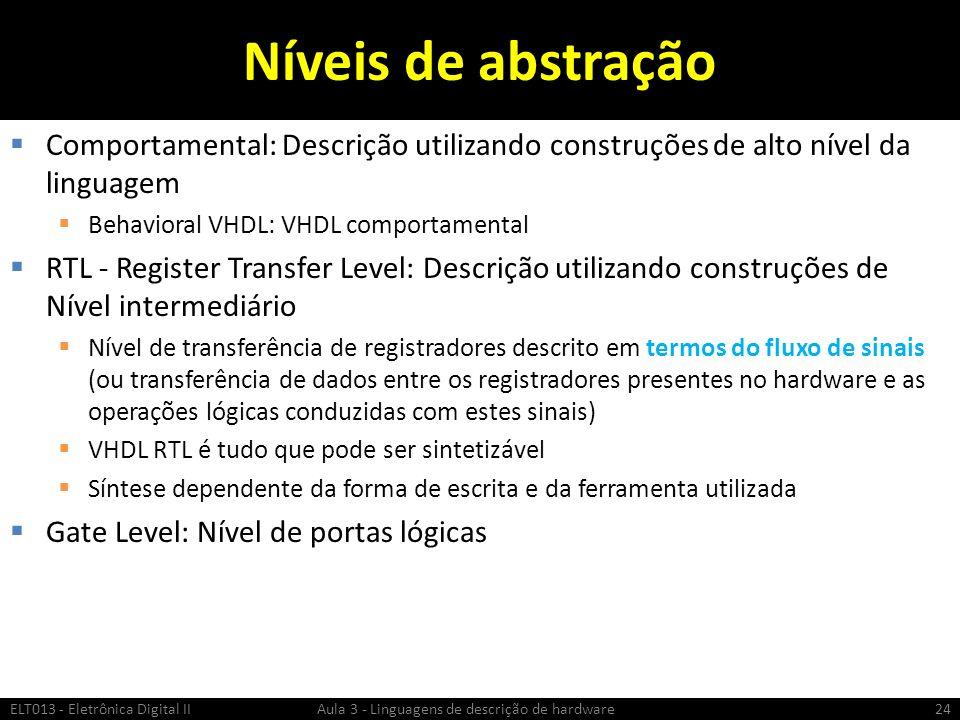 Níveis de abstração Comportamental: Descrição utilizando construções de alto nível da linguagem. Behavioral VHDL: VHDL comportamental.