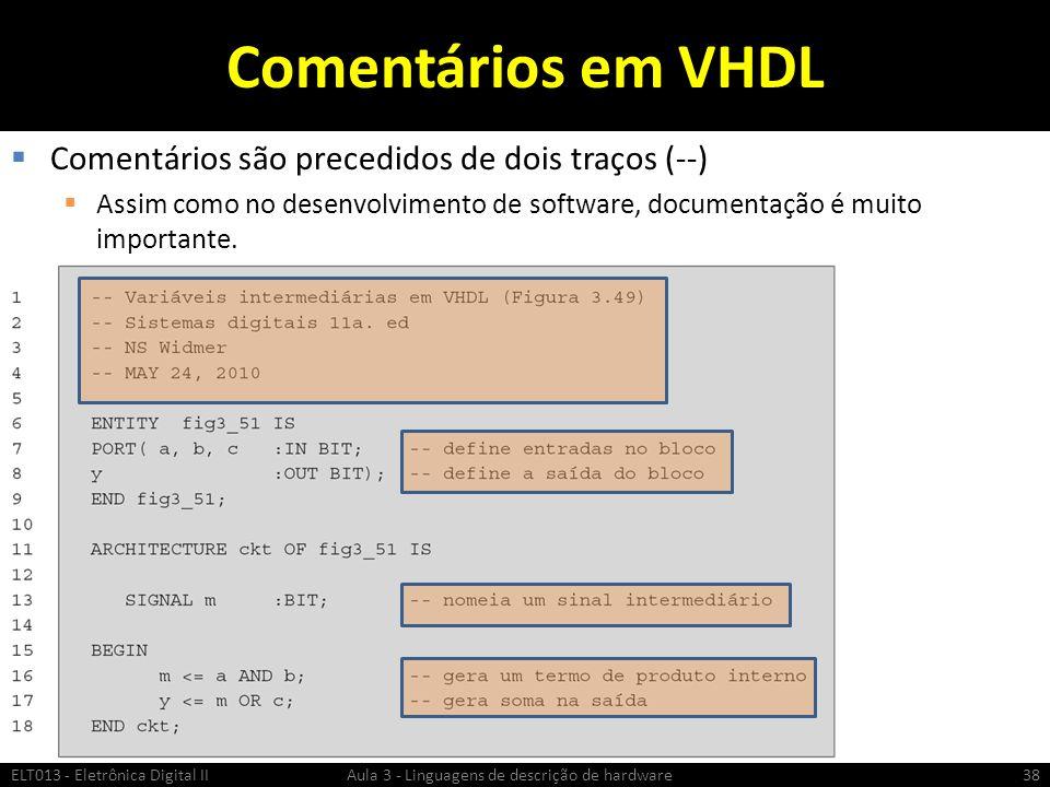Comentários em VHDL Comentários são precedidos de dois traços (--)