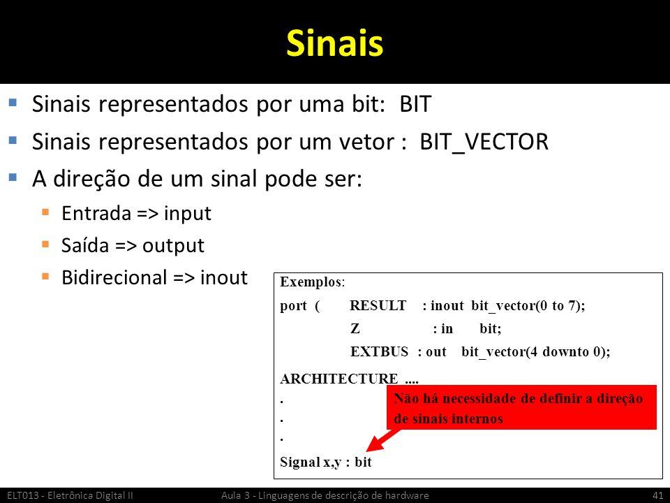 Sinais Sinais representados por uma bit: BIT