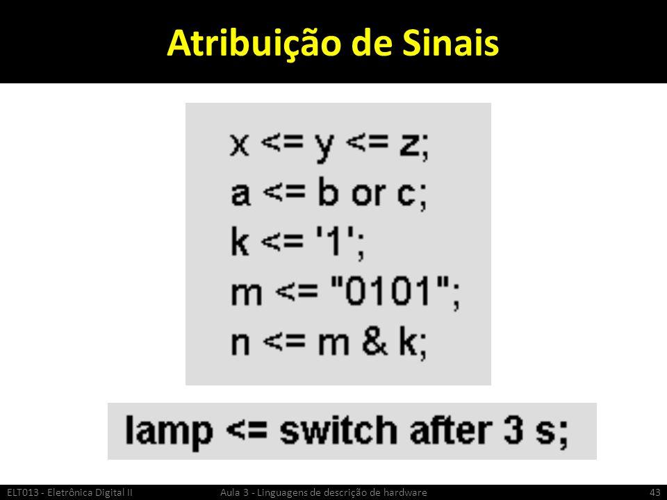 Atribuição de Sinais ELT013 - Eletrônica Digital II Aula 3 - Linguagens de descrição de hardware.