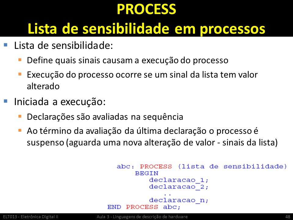 PROCESS Lista de sensibilidade em processos