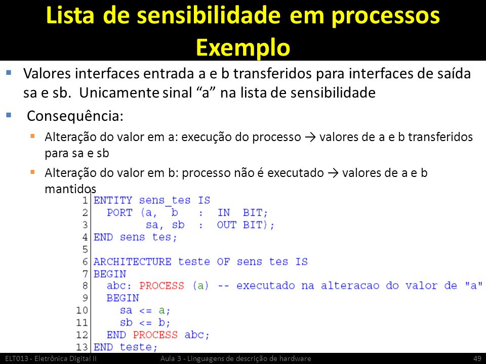 Lista de sensibilidade em processos Exemplo