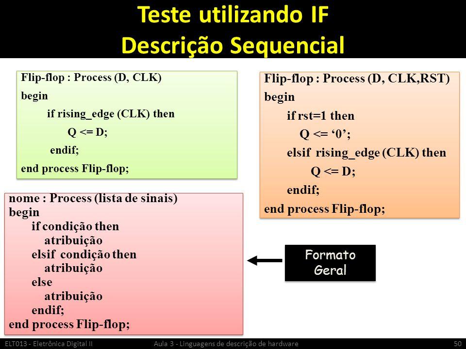 Teste utilizando IF Descrição Sequencial