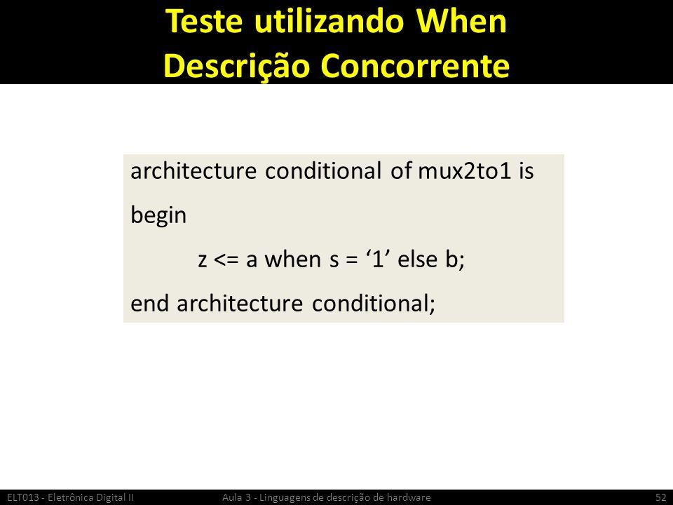 Teste utilizando When Descrição Concorrente