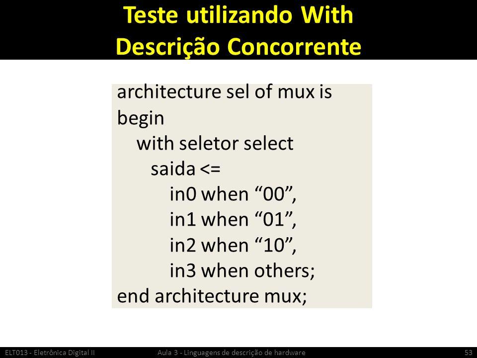 Teste utilizando With Descrição Concorrente