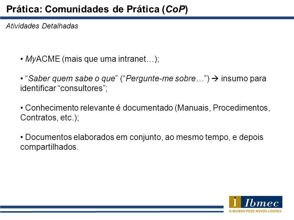 Prática: Comunidades de Prática (CoP)