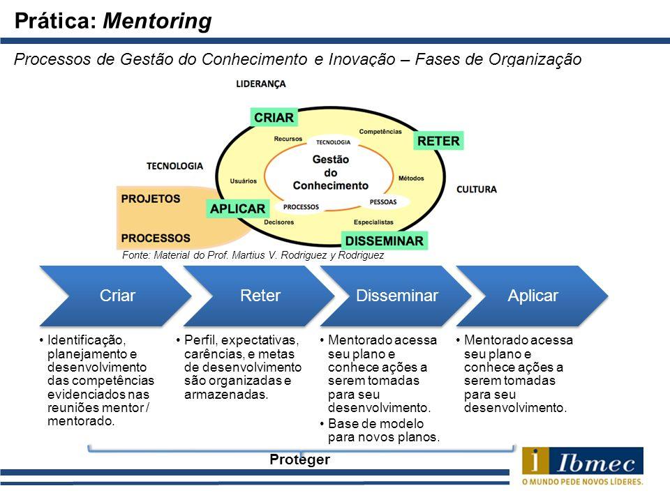 Prática: Mentoring Processos de Gestão do Conhecimento e Inovação – Fases de Organização. Fonte: Material do Prof. Martius V. Rodriguez y Rodriguez.
