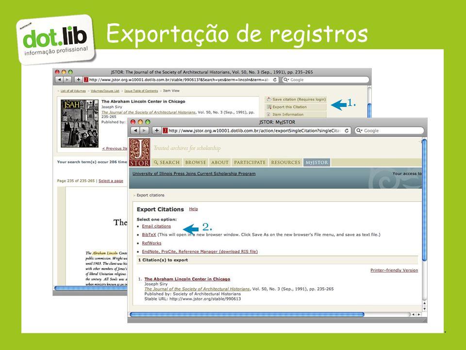 Exportação de registros
