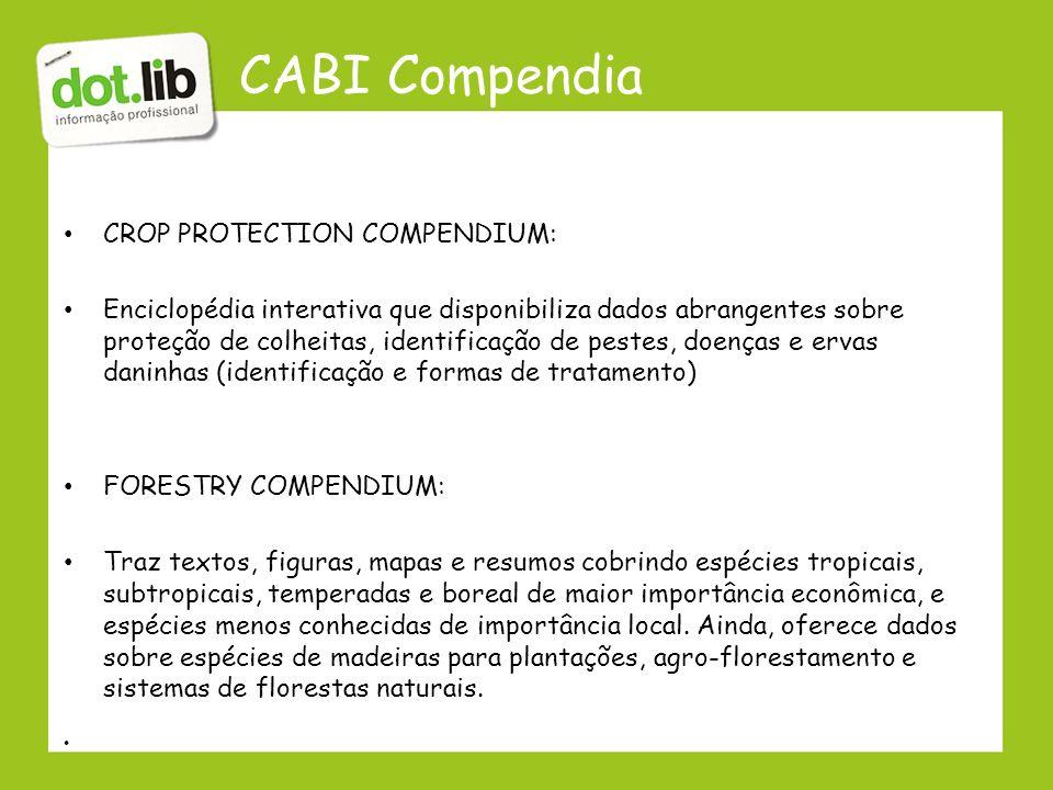 CABI Compendia CROP PROTECTION COMPENDIUM: