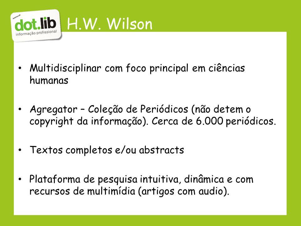 H.W. Wilson Multidisciplinar com foco principal em ciências humanas