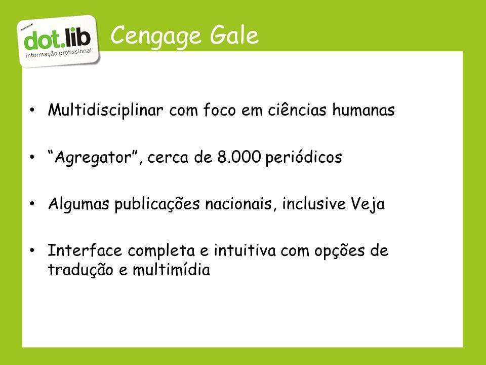 Cengage Gale Multidisciplinar com foco em ciências humanas