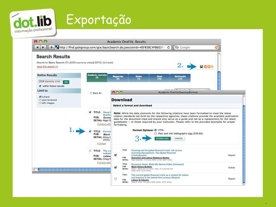 Exportação 2. 1. 3. .