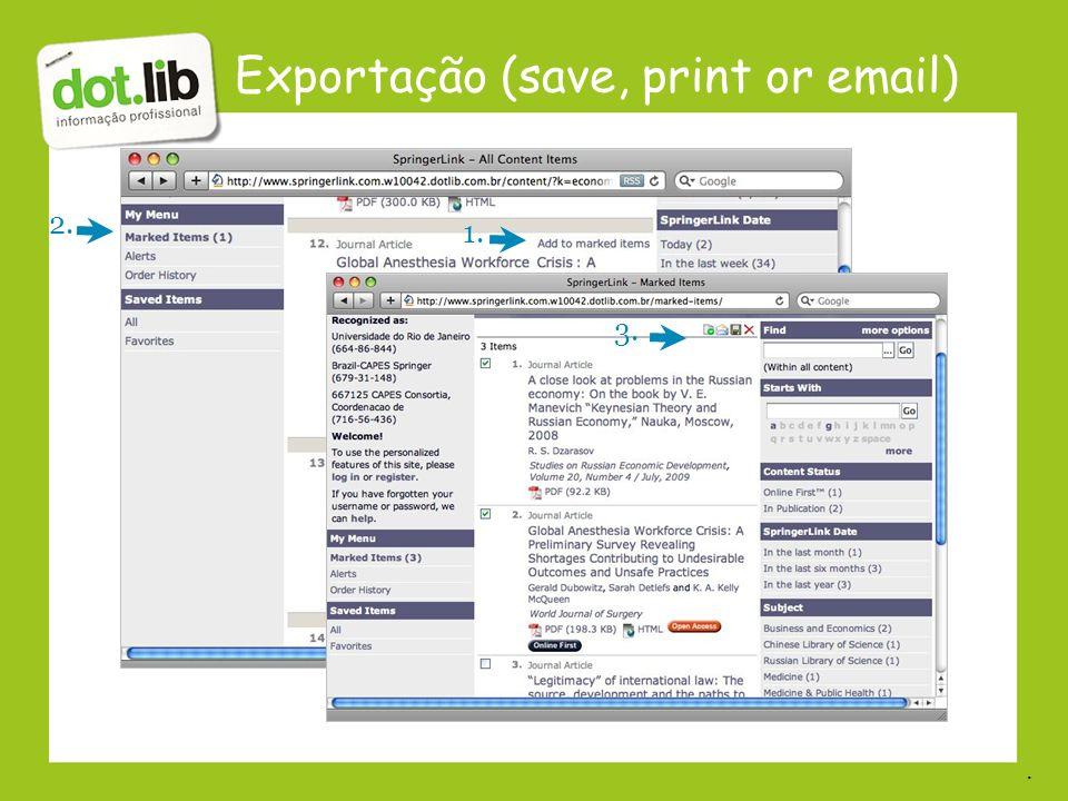 Exportação (save, print or email)