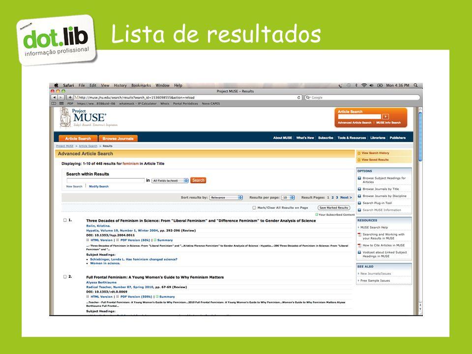Lista de resultados
