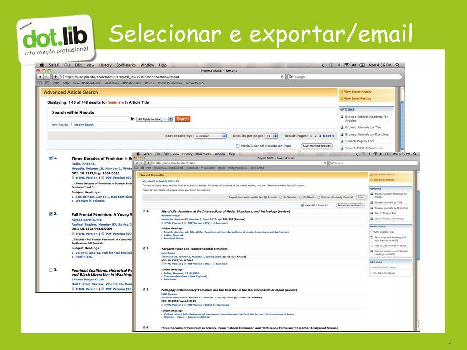 Selecionar e exportar/email