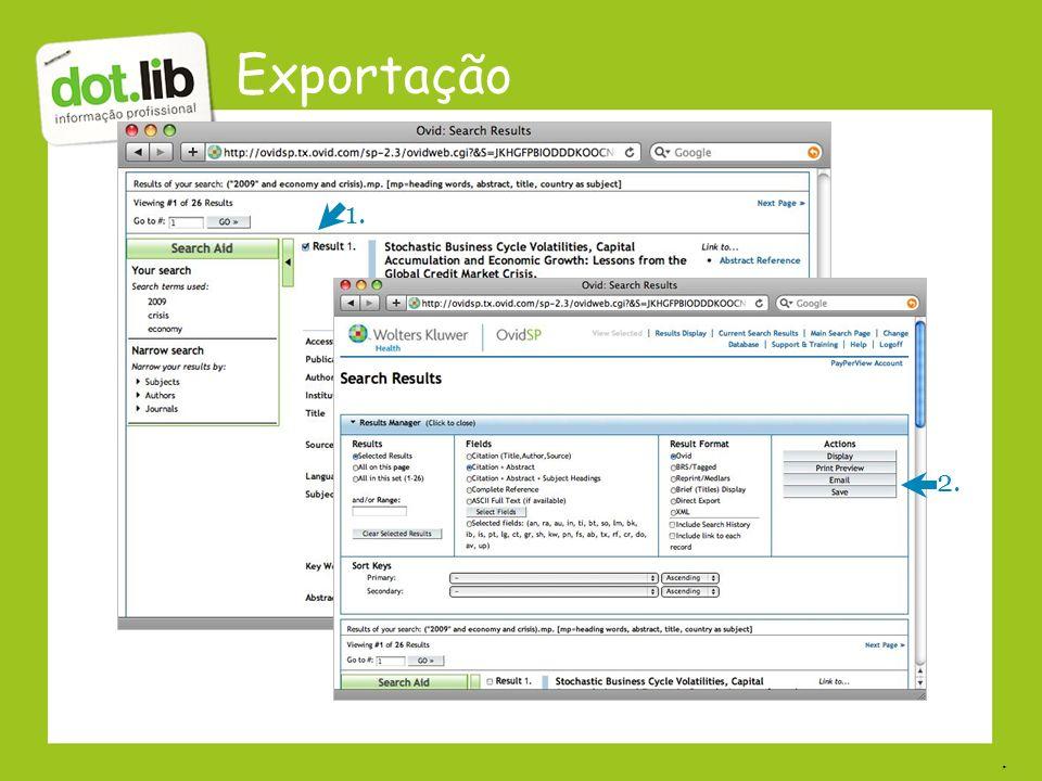 Exportação 1. 2. .