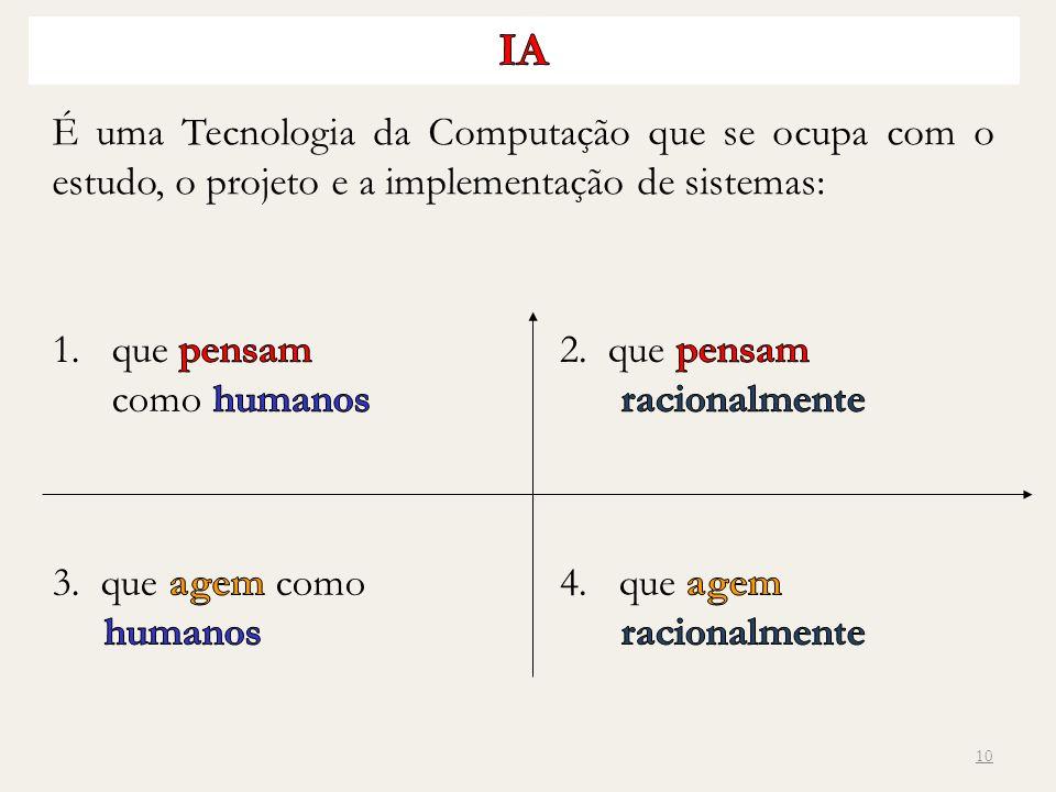 IA É uma Tecnologia da Computação que se ocupa com o estudo, o projeto e a implementação de sistemas: