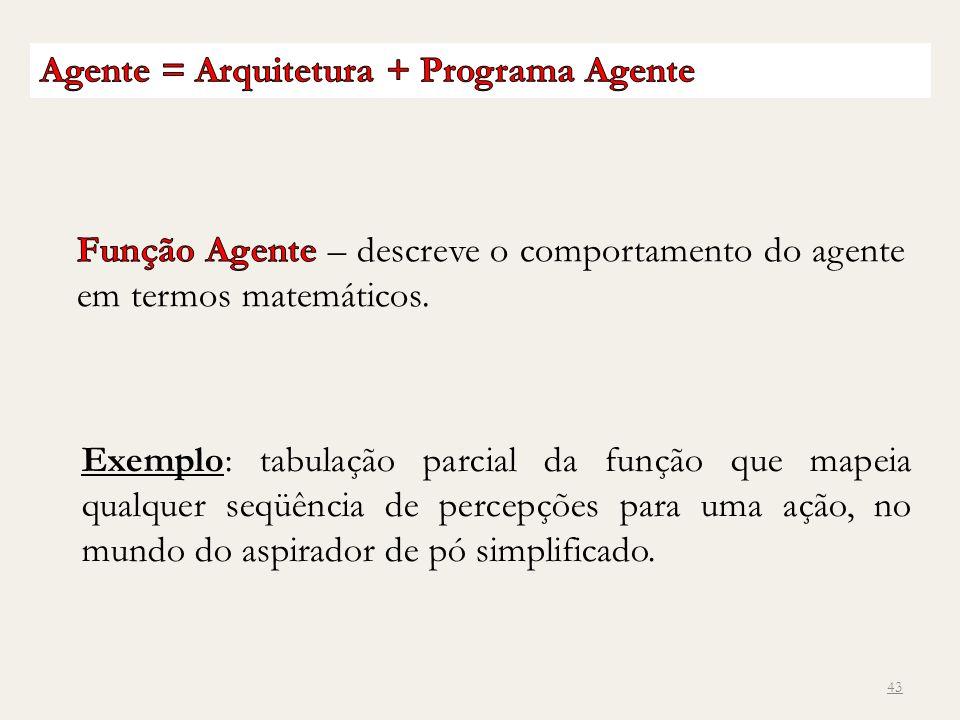 Agente = Arquitetura + Programa Agente