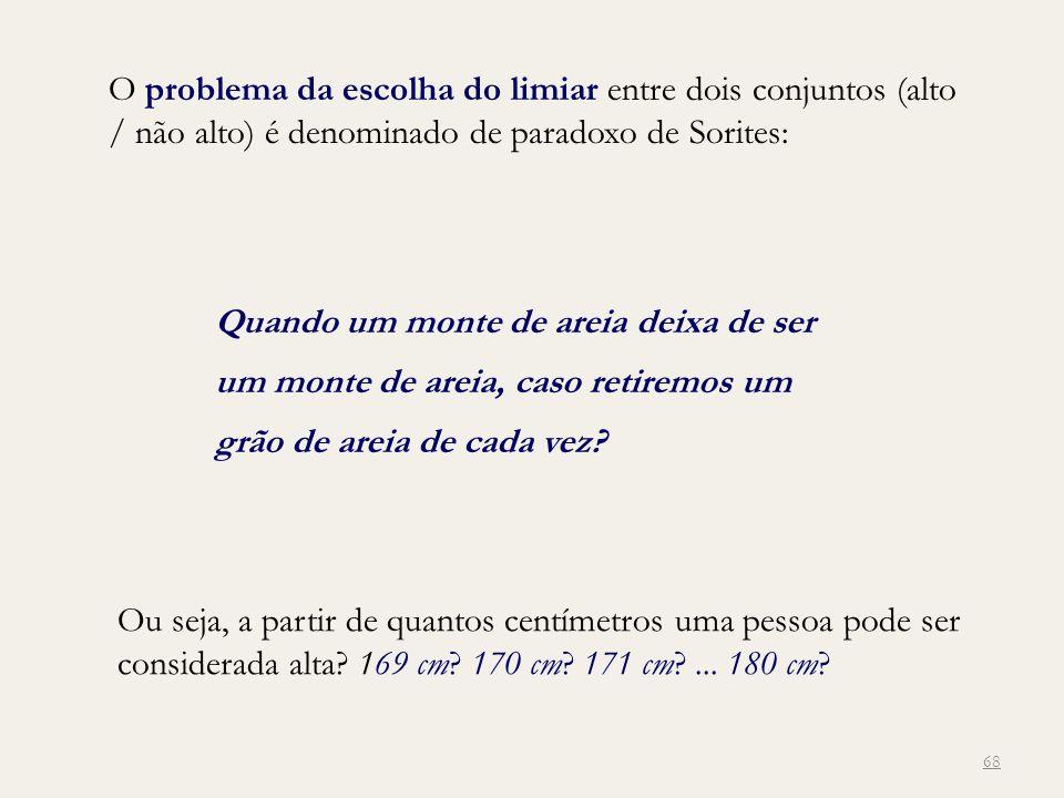 O problema da escolha do limiar entre dois conjuntos (alto / não alto) é denominado de paradoxo de Sorites: