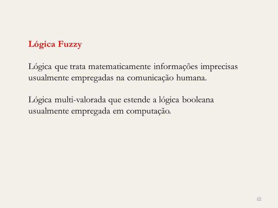 Lógica Fuzzy Lógica que trata matematicamente informações imprecisas usualmente empregadas na comunicação humana.