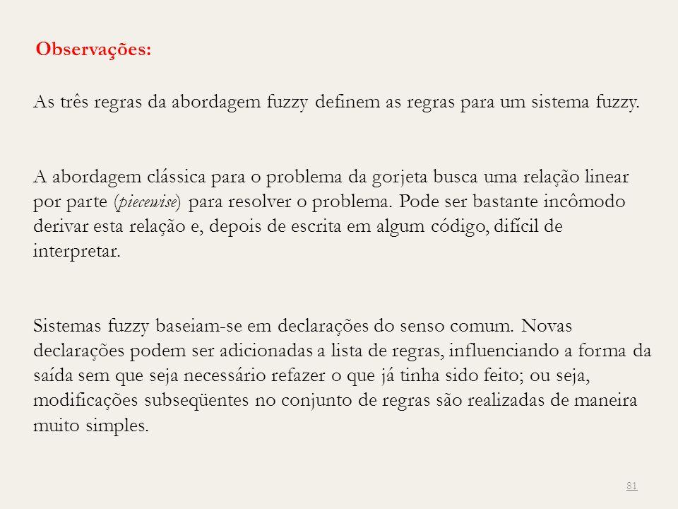 Observações: As três regras da abordagem fuzzy definem as regras para um sistema fuzzy.