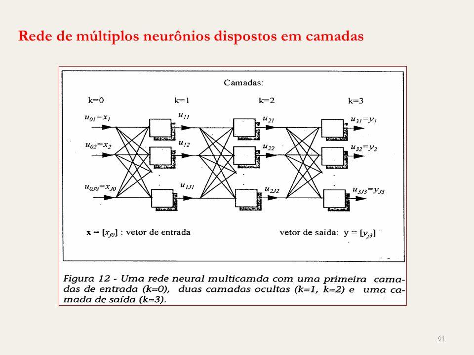 Rede de múltiplos neurônios dispostos em camadas