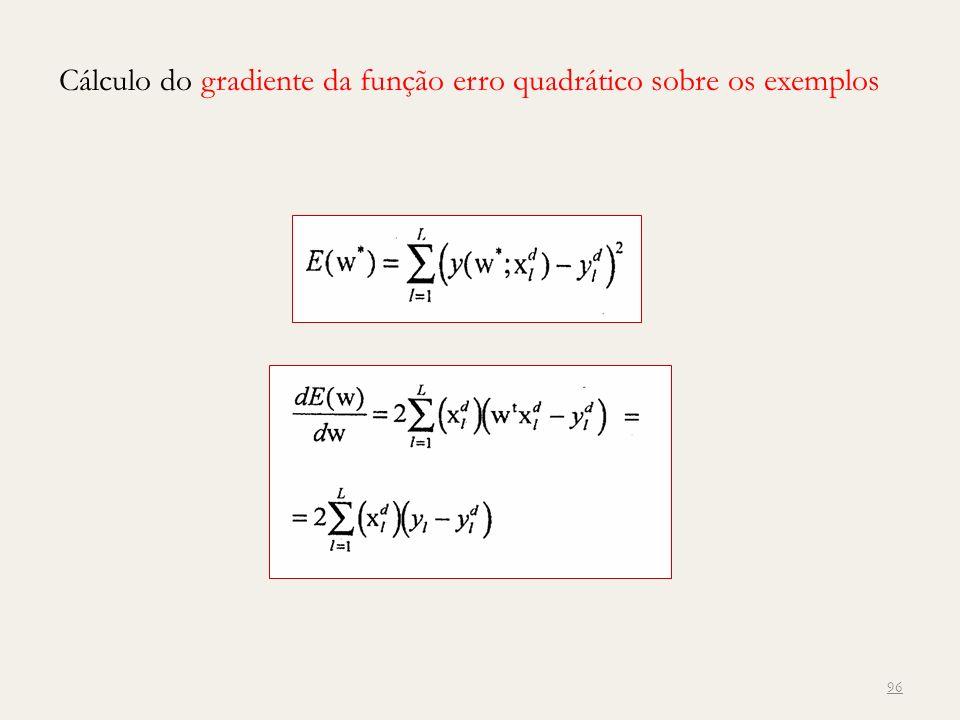 Cálculo do gradiente da função erro quadrático sobre os exemplos