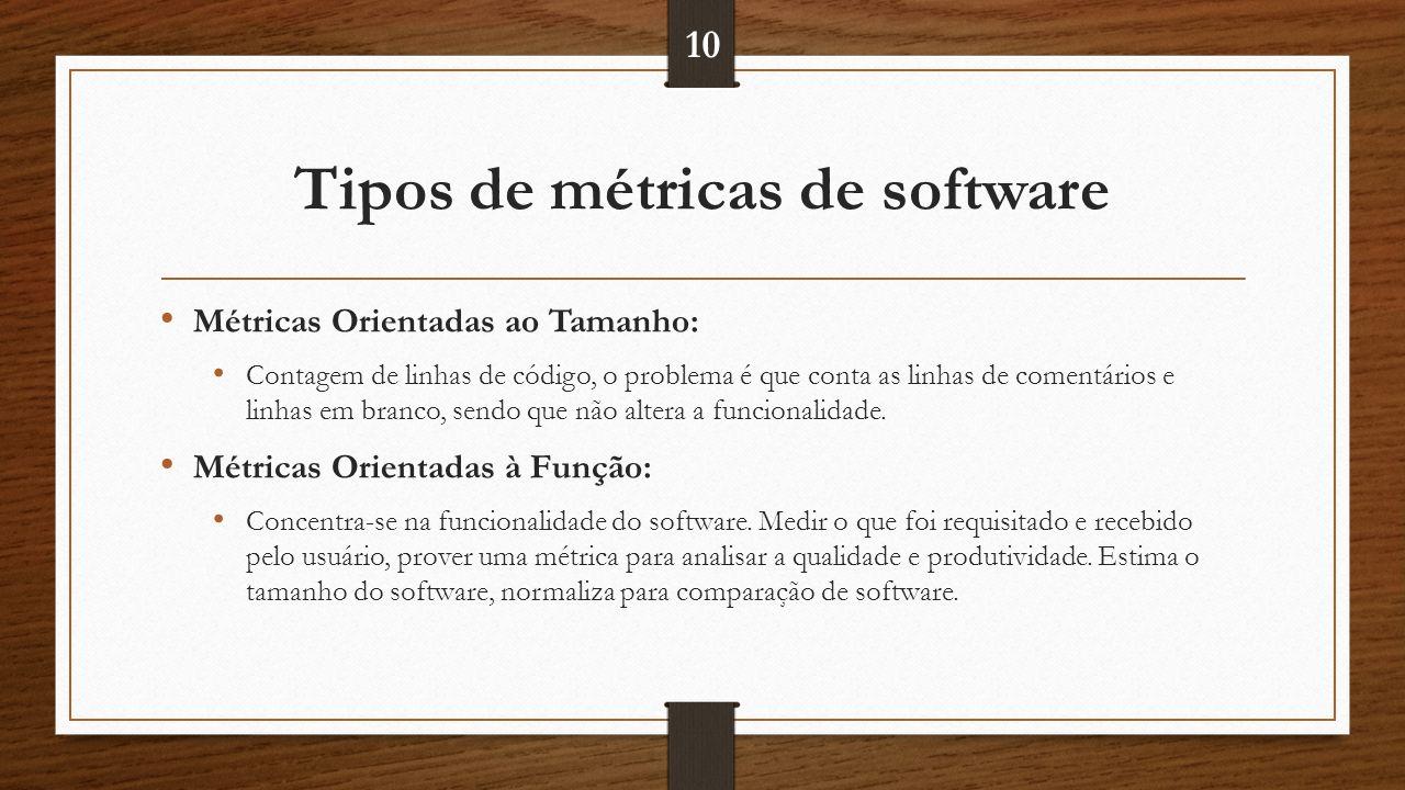 Tipos de métricas de software