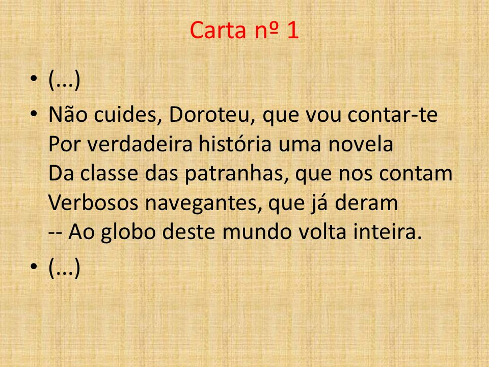 Carta nº 1 (...)