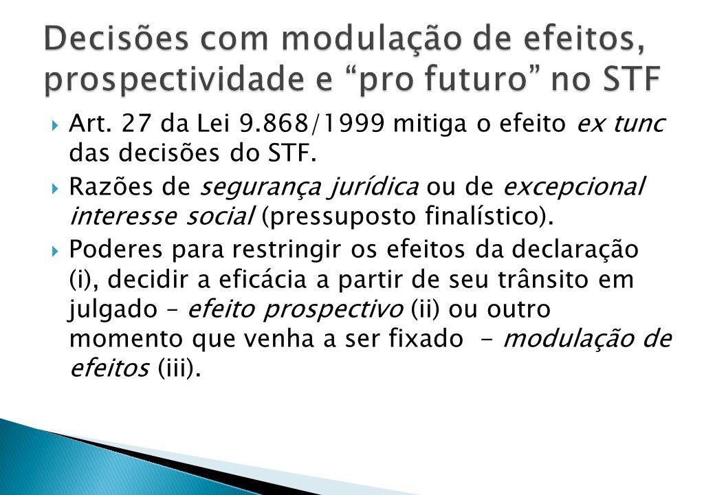 Decisões com modulação de efeitos, prospectividade e pro futuro no STF