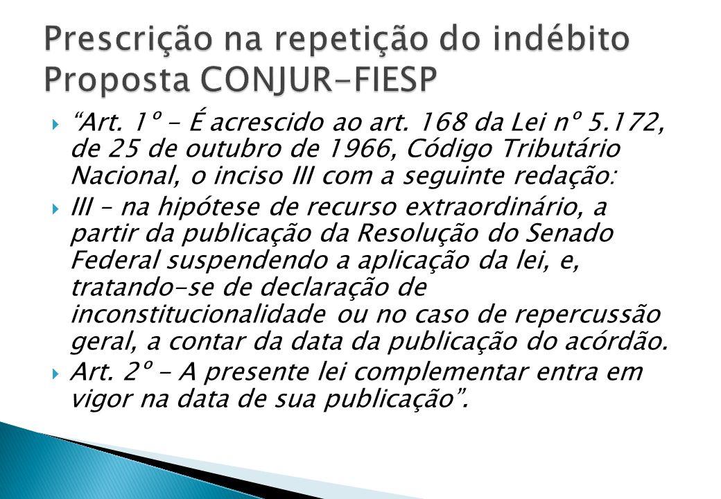 Prescrição na repetição do indébito Proposta CONJUR-FIESP