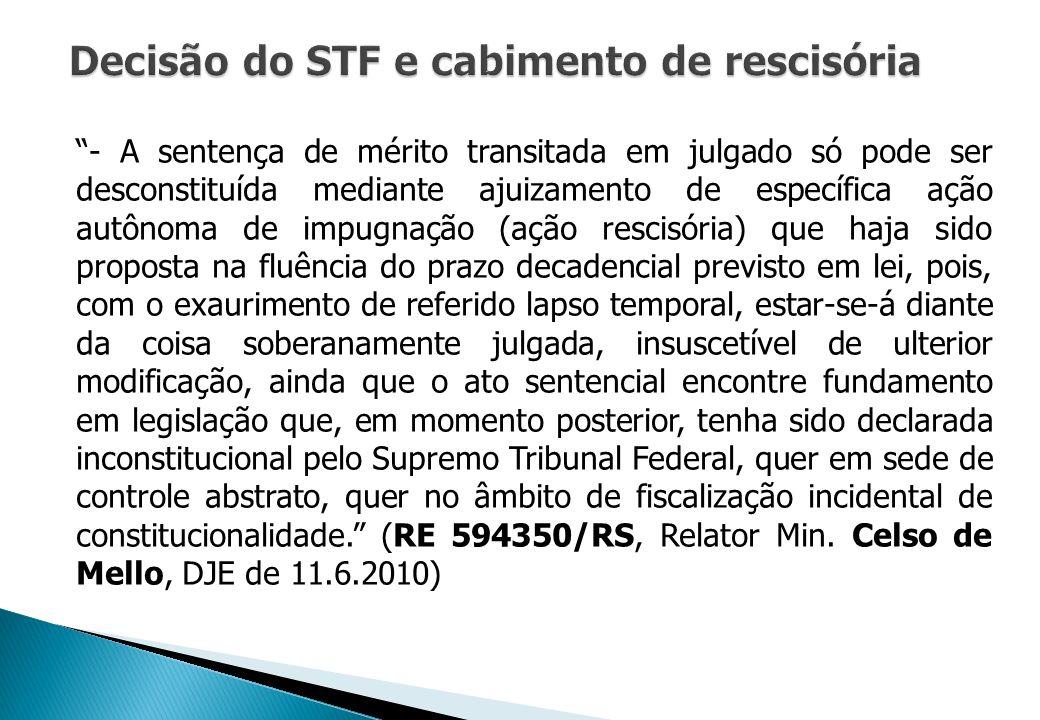 Decisão do STF e cabimento de rescisória