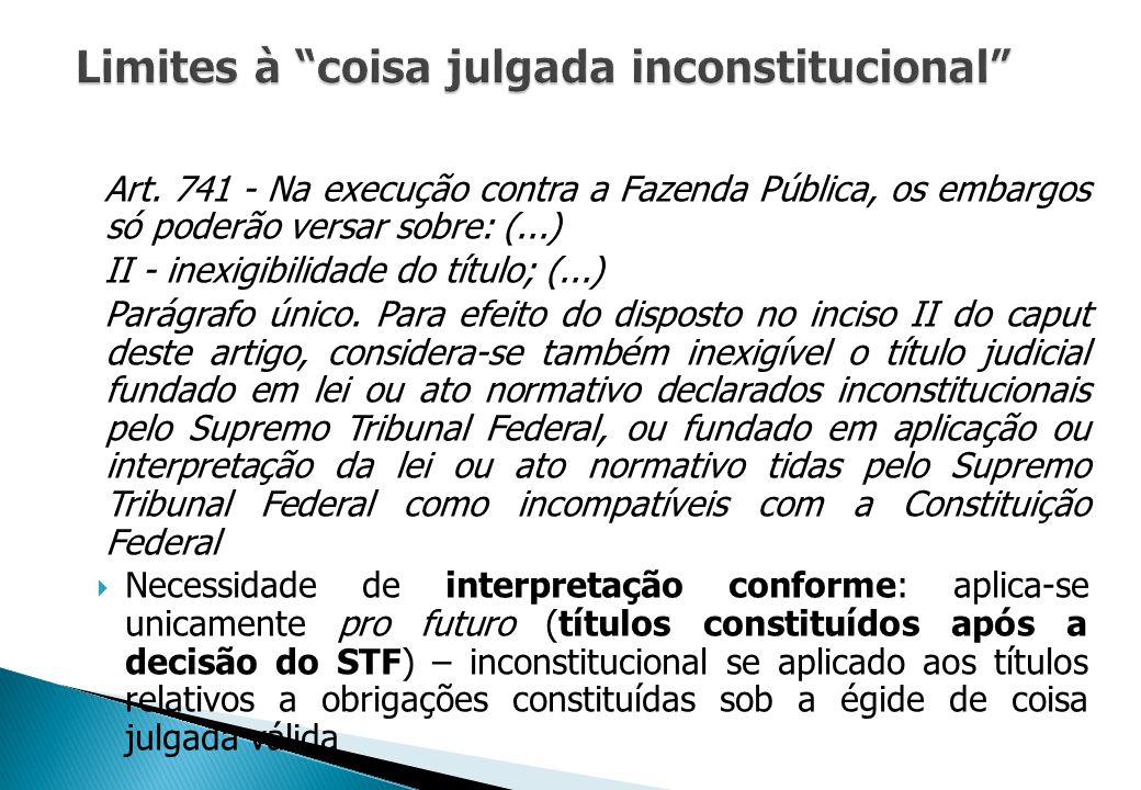 Limites à coisa julgada inconstitucional