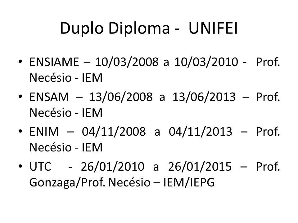 Duplo Diploma - UNIFEI ENSIAME – 10/03/2008 a 10/03/2010 - Prof. Necésio - IEM. ENSAM – 13/06/2008 a 13/06/2013 – Prof. Necésio - IEM.