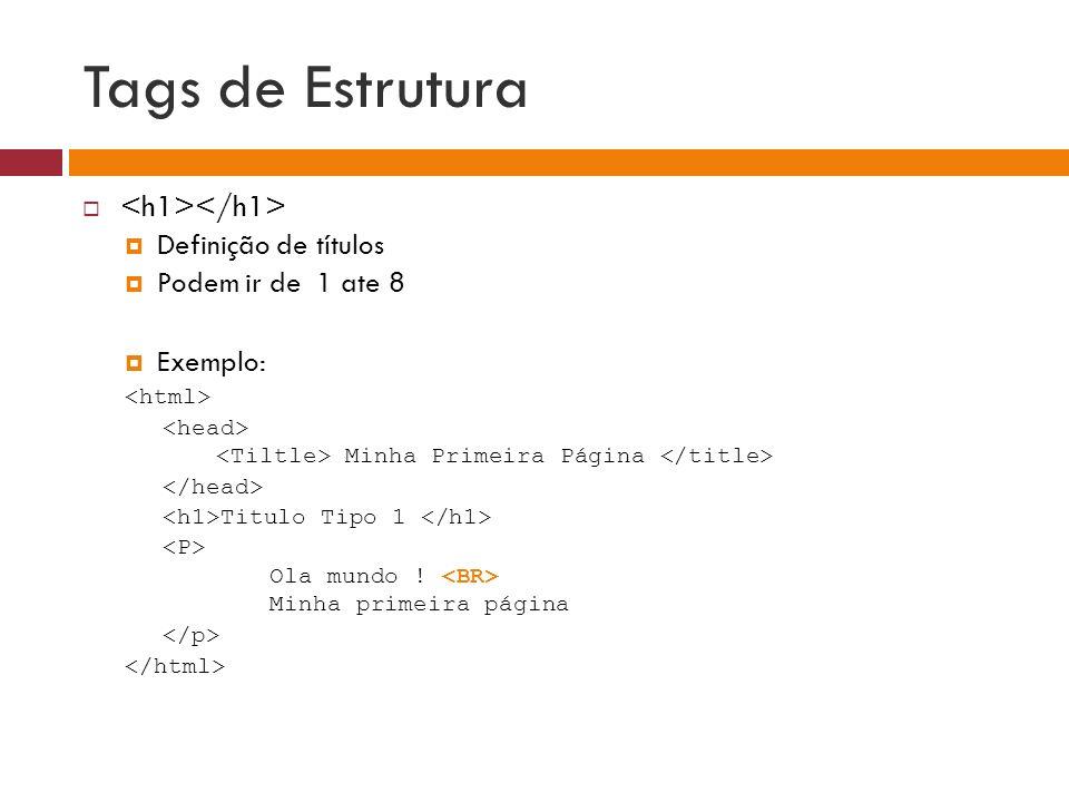 Tags de Estrutura <h1></h1> Definição de títulos
