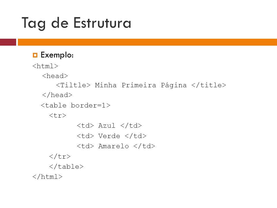 Tag de Estrutura Exemplo: <html> <head>