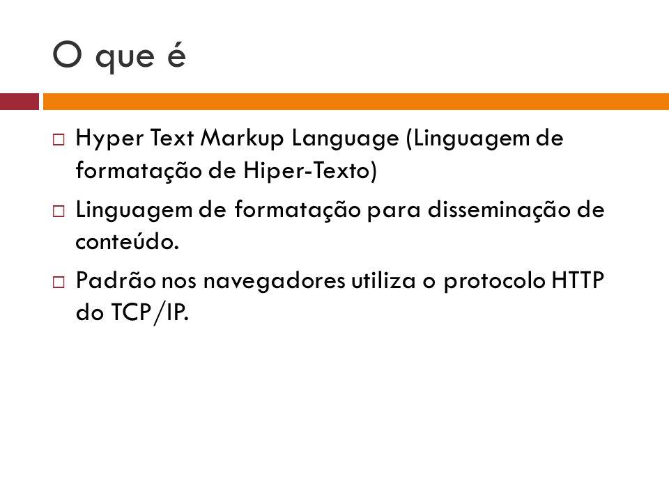 O que é Hyper Text Markup Language (Linguagem de formatação de Hiper-Texto) Linguagem de formatação para disseminação de conteúdo.