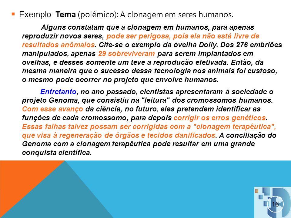 Exemplo: Tema (polêmico): A clonagem em seres humanos.