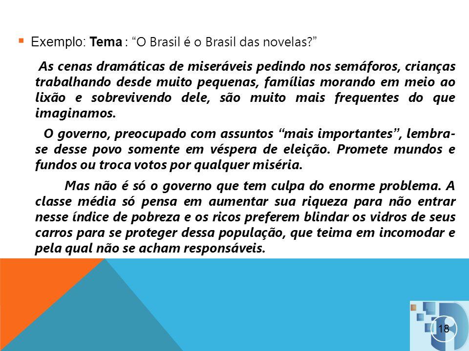Exemplo: Tema : O Brasil é o Brasil das novelas