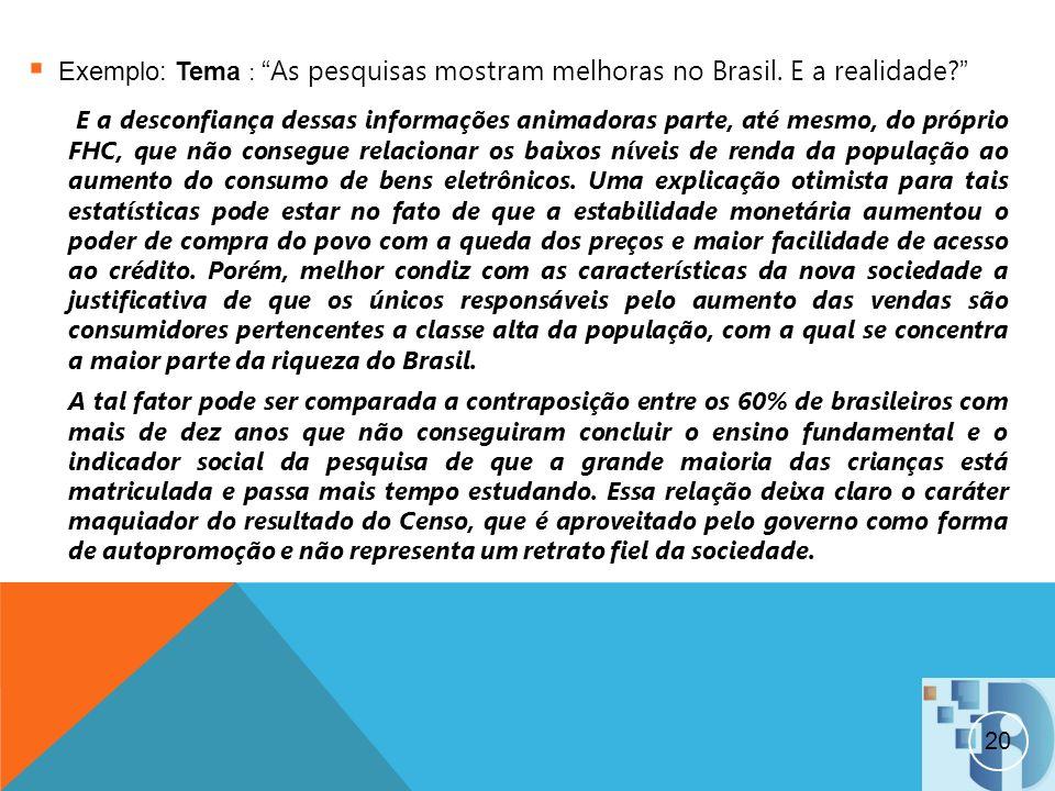 Exemplo: Tema : As pesquisas mostram melhoras no Brasil. E a realidade