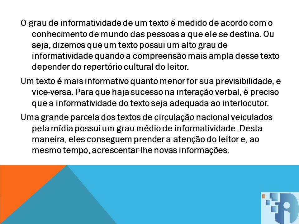 O grau de informatividade de um texto é medido de acordo com o conhecimento de mundo das pessoas a que ele se destina.