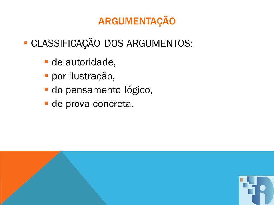 ARGUMENTAÇÃO CLASSIFICAÇÃO DOS ARGUMENTOS: de autoridade, por ilustração, do pensamento lógico, de prova concreta.