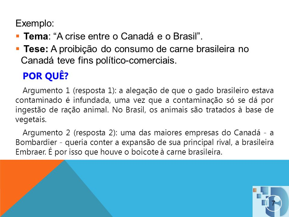 Tema: A crise entre o Canadá e o Brasil .