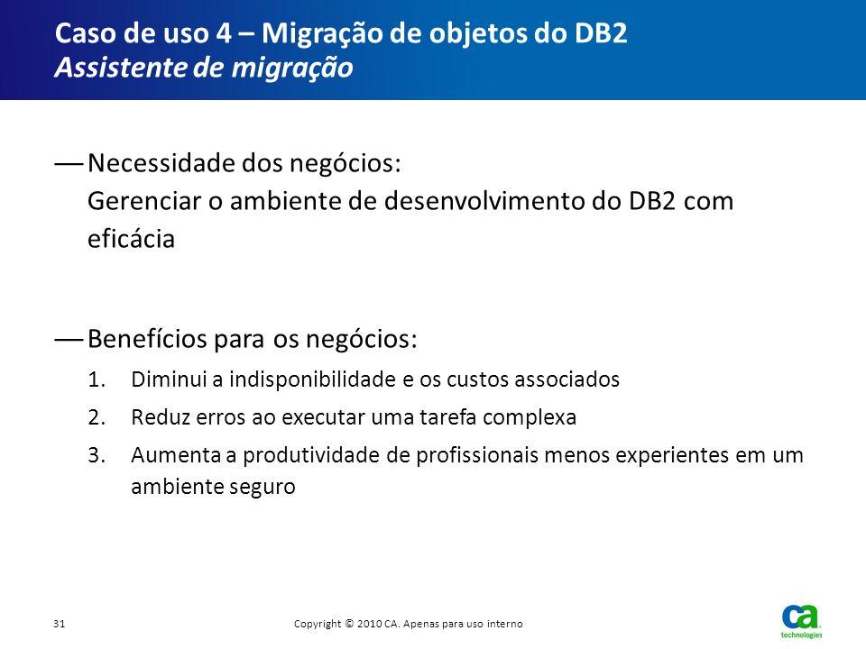 Caso de uso 4 – Migração de objetos do DB2 Assistente de migração