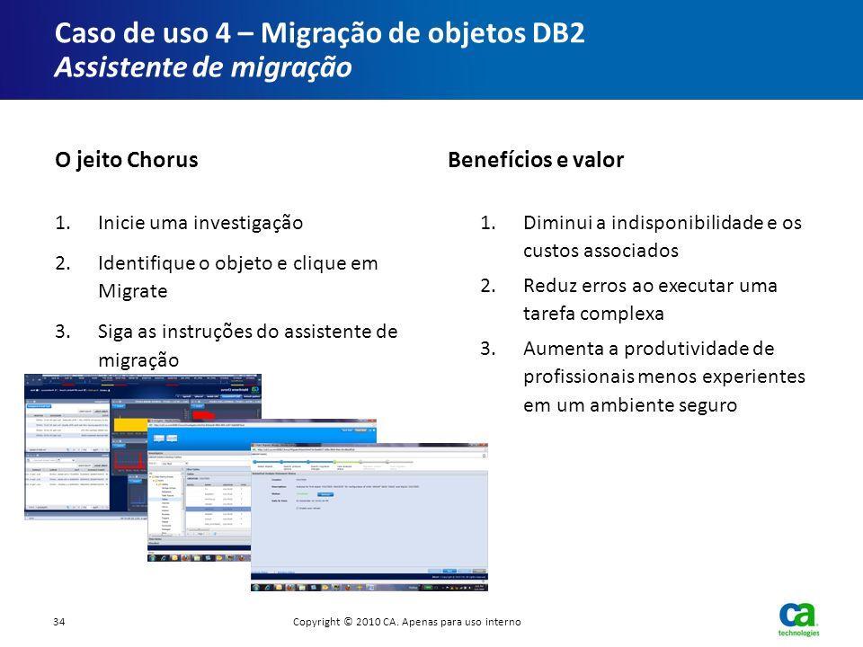 Caso de uso 4 – Migração de objetos DB2 Assistente de migração