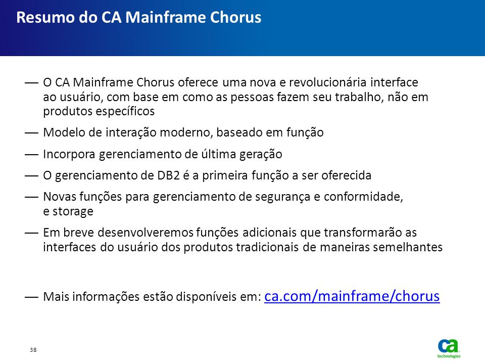 Resumo do CA Mainframe Chorus