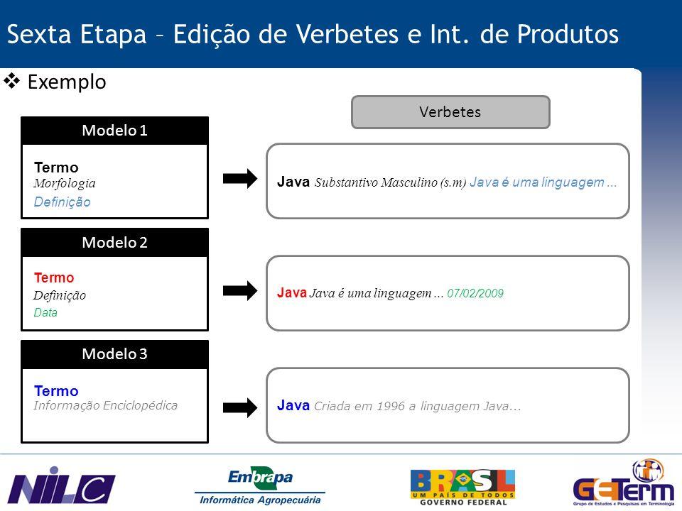 Sexta Etapa – Edição de Verbetes e Int. de Produtos